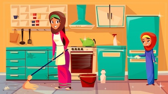 Cartoon muslim khaliji mother, daughter in hijab cleaning kitchen together