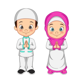 Cartoon muslim kid greeting salaam