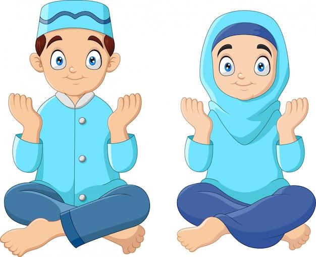 漫画のイスラム教徒の子供たちの祈り