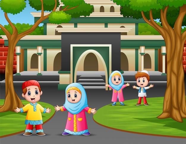 Cartoon of muslim kids in front the mosque