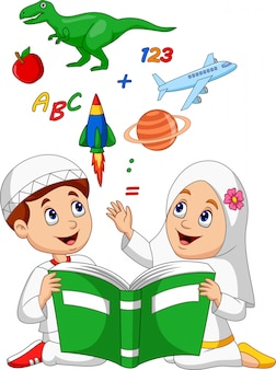 Cartoon muslim kids reading book education concept