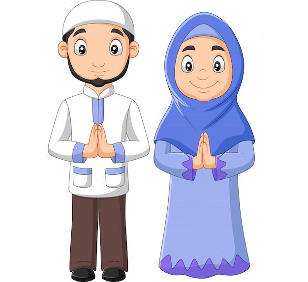 Мультяшный мусульманский мужчина и женщина пара