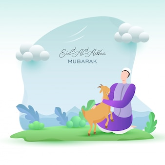 Cartoon muslim man holding a goat with clouds on green nature and blue background for eid-al-adha mubarak concept.