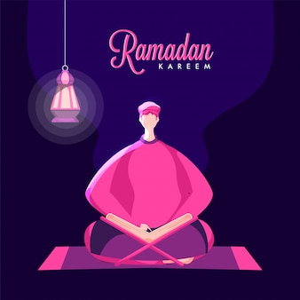 Cartoon muslim man reading quran (holy book) and hanging illuminated lantern on purple background for ramadan kareem celebration.