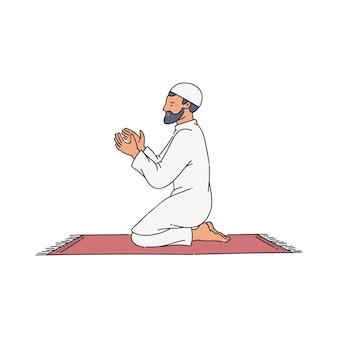 カーペットの上で祈りを言っている漫画のイスラム教徒の男性。伝統的な服と祈りの帽子をかぶったイスラム教の信者が膝の上に座って、手を置いて祈っています。