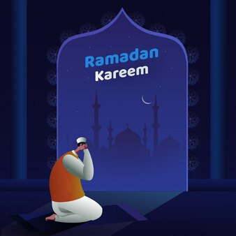 Cartoon muslim man in tayammum pose with mosque and night view on blue background for ramadan kareem celebration.