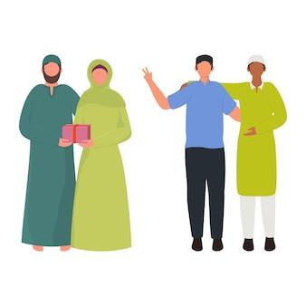 Cartoon muslim men and woman character in standing pose.