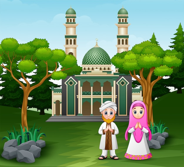 Cartoon muslim people in front the mosque