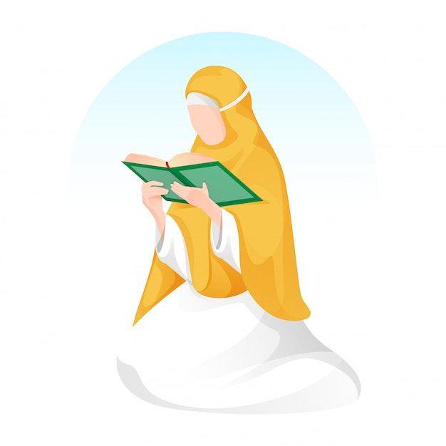 Cartoon muslim woman reading a holy book in sitting pose.