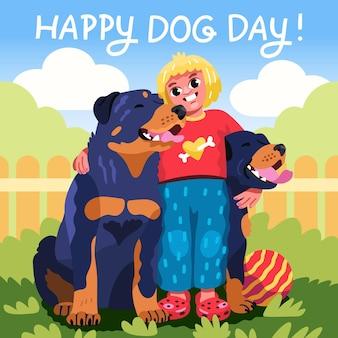 Мультфильм национальный день собаки иллюстрация