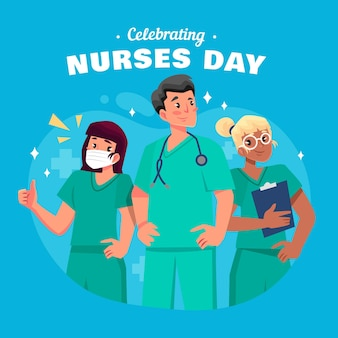 Cartoon national nurses day illustration