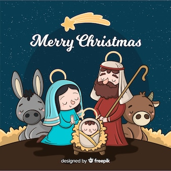 Cartoon nativity background