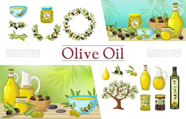Cartoon natural olive elements collection with olive oil bottles wreath branches tree drop jars pots and cans