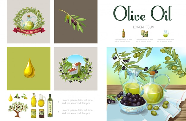 Cartoon natural olive infographic template with olive wreath tree branches cans bowls building on hill jars and bottles of organic oil