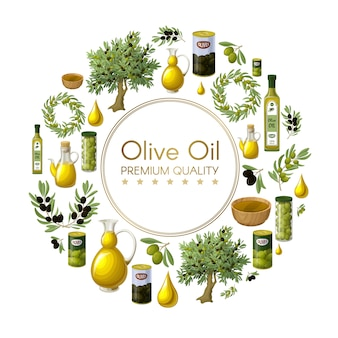 Cartoon natural olive oil round composition with olive trees wreathes branches jars cans bottles bowls drops isolated