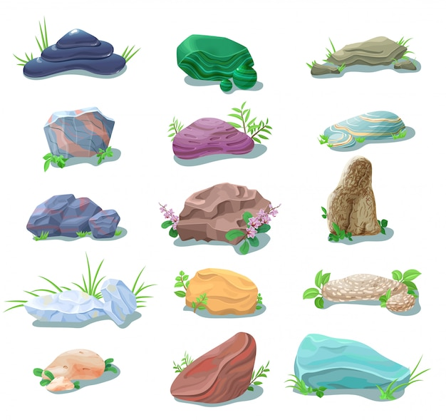 Cartoon natural stones and boulders collection