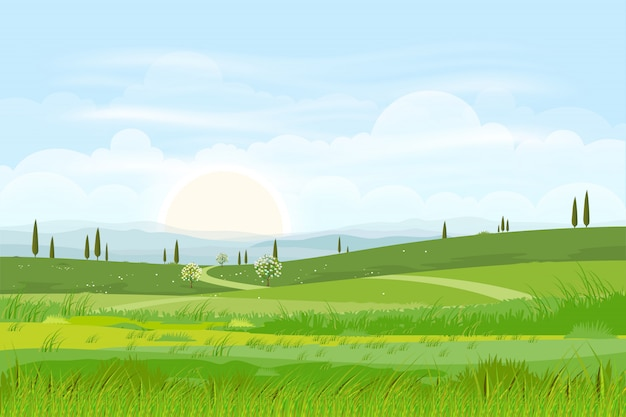 스카이 라인과 푸른 언덕의 만화 자연 풍경 배경