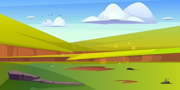 Cartoon nature landscape green field with grass and rocks under blue sky with fluffy clouds and flyi...