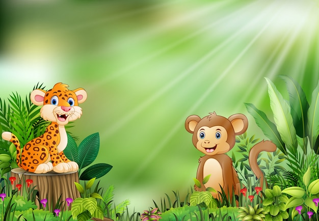 Cartoon of the nature scene with a baby leopard sitting on tree stump and monkey