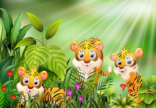 Cartoon of nature scene with group of tiger
