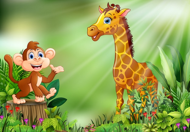 Cartoon of the nature scene with a monkey sitting on tree stump and giraffe