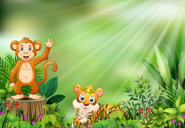 Cartoon of the nature scene with a monkey sitting on tree stump and tiger