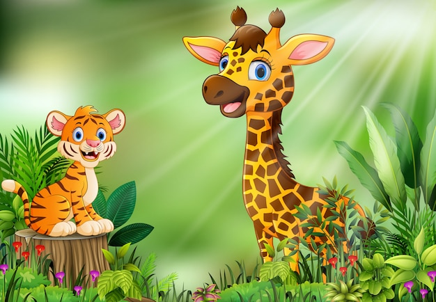 Cartoon of the nature scene with a tiger sitting on tree stump and giraffe