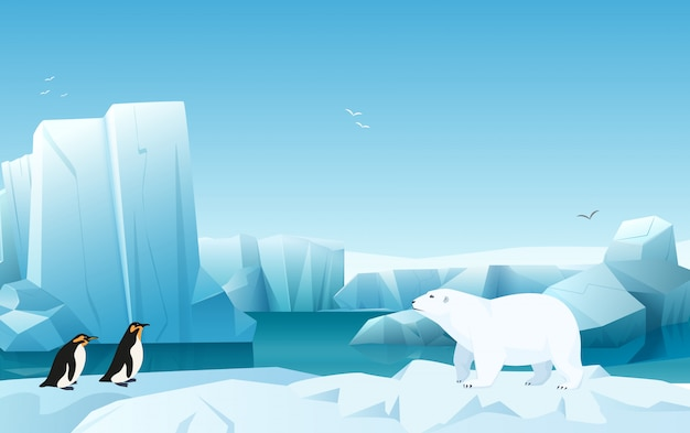 Cartoon nature winter arctic ice landscape with iceberg, snow mountains hills. white bear and penguins.  game style illustration.