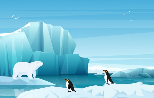 Cartoon nature winter arctic landscape with ice mountains. white bear and penguins.  game style illustration.