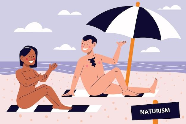 漫画の裸体主義の概念図 無料ベクター