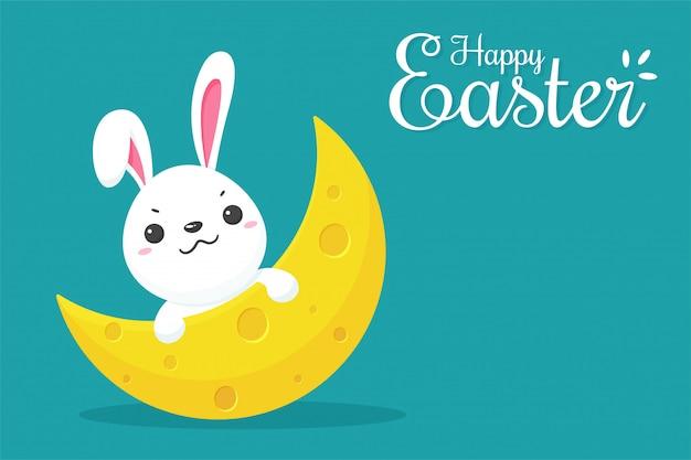 만화 장난 꾸러기 작은 토끼는 반달에서 기댄 다.