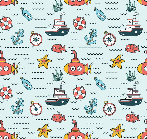 Cartoon nautical seamless background