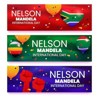 Set di banner per la giornata internazionale del fumetto nelson mandela