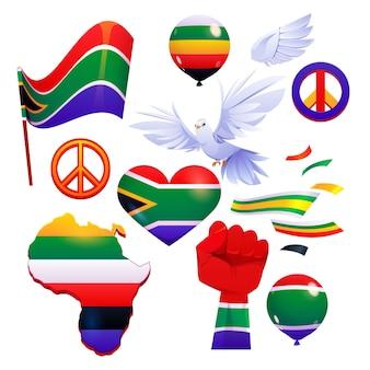 Cartoon nelson mandela international day elements collection