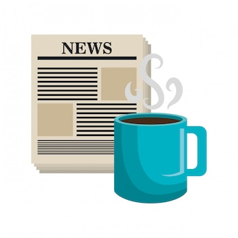 Cartoon news cup coffee isolated