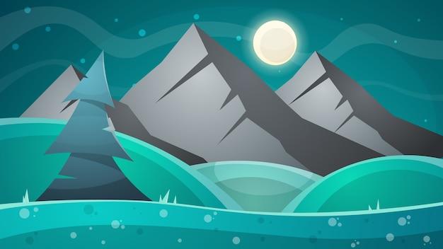 漫画の夜の風景。彗星、月、山、モミのイラスト。