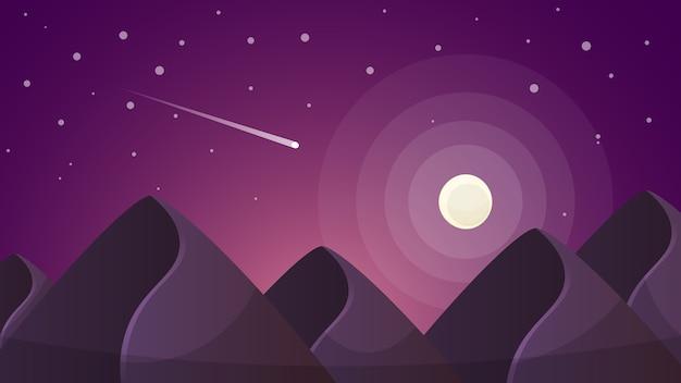 漫画の夜の風景。彗星、月、山のイラスト。