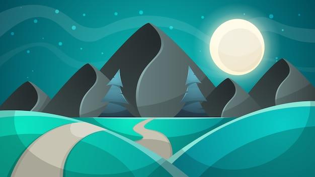 漫画の夜の風景。ファー、月のイラスト。月と雲