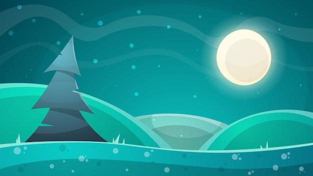 漫画の夜の風景。ファー、月のイラスト
