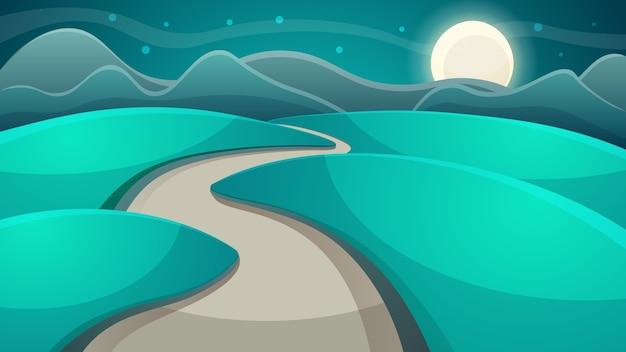 漫画の夜の風景。月と雲。