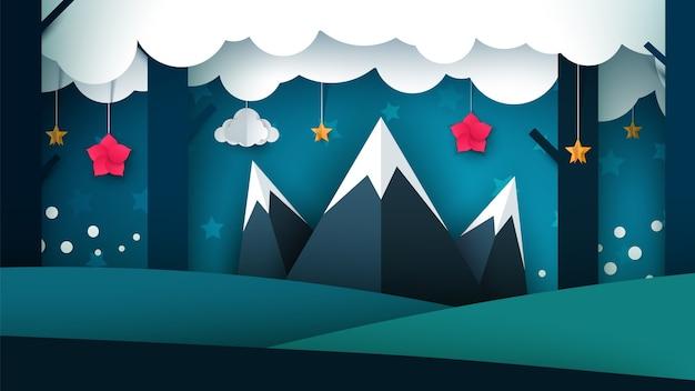 漫画の夜の風景。山のイラストレーション。