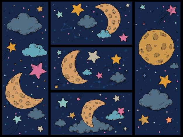 만화 밤하늘. 별, 달, 구름이 있는 손으로 그린 인쇄물. 별이 빛나는 은하, 벡터 배경이 설정된 수면을 위한 유치한 공간 패턴입니다. 별자리가 있는 코스모스, 어두운 cloudscape