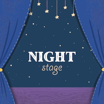 Cartoon night theater stage with dark blue curtains