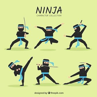 Cartoon ninja character in different poses