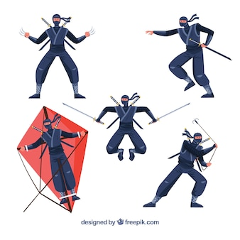 Cartoon ninja character in different poses