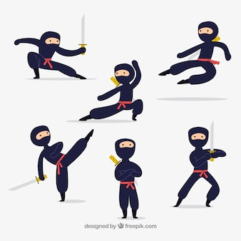 Мультяшный персонаж ниндзя в разных позах