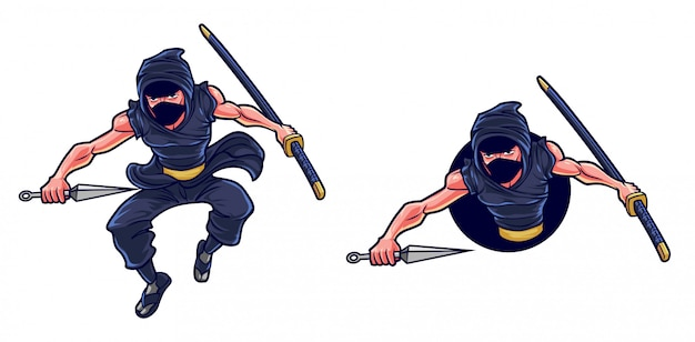 Cartoon ninja kunai