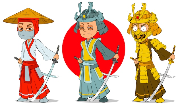 Cartoon ninja samurai with sword characters set