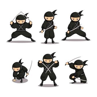 Cartoon ninja set with six different moves