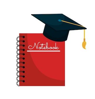 Cartoon notebook cap graduation graphic isolated